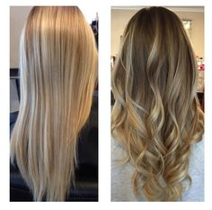 Before and after by Natalie Solotes at Exclusively Hair on Transit blonde Balayage ombre sombre rooted blonde dark blonde retouch fall Haircolor fall hair long seamless layers long layered haircut and melted freehand color with highlights and lowlights beige ash