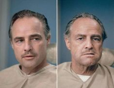 Marlon Brando before and after getting his make up done to be Don Vito Corleone in The Godfather, 1972 : OldSchoolCool The Godfather 1972, Godfather Movie, Godfather Tattoo, Brad Pitt, Celebridades Fashion, Don Corleone, Corleone Family, Andy Garcia, Cinema Tv