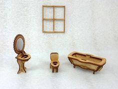 """Kit miniaturas - Tema """"banheiro"""" <br>Para decoração de quadros, cenários, maquetes, Casa de boneca, etc... <br> <br>Faz parte: (Compr. x Larg. x Alt.) Centímetros <br>1-banheira; (7,5 x 4 x 2,5) <br>1-vaso; (2 x 3 x 3,5) <br>1-lavatório; (2,5 x 2,5 x 5) <br>1-espelho; (4 x 3) <br>1-janela. (6 x 7) <br> <br>O """"espelho"""" está com papel alumínio na foto, para dar mais """"realismo"""", mas o papel alumínio não faz parte do kit. O fundo do espelho é solto, para poder fazer a colocação do papel."""
