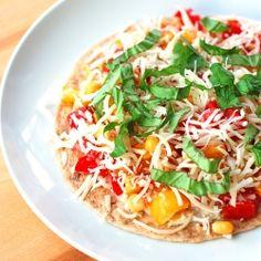 Mozzarella, Basil, and Corn Quesadilla! Healthy and easy!