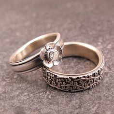 Opposites Attract Wedding Band Set - sterling silver and 14k yellow gold, moissanite.