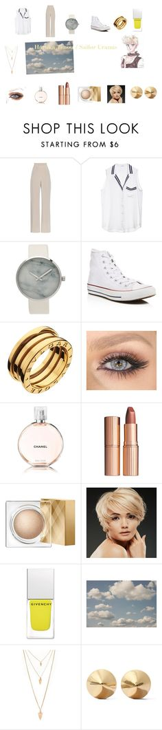 """""""Haruka Tenou / Sailor Uranus"""" by lauren-zenobia-simmons ❤ liked on Polyvore featuring MaxMara, Equipment, Converse, Bulgari, Chanel, Charlotte Tilbury, Burberry, WigYouUp, Givenchy and Forever 21"""