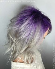 Granny Silver/ Grey Hair Color Ideas: Silver Hair With Melted Purple Roots