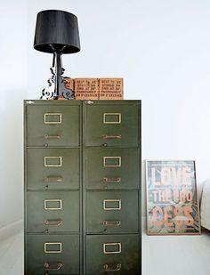 Dark green filing cabinet | Photographer Birgitta Wolfgang Drejer | femina.dk