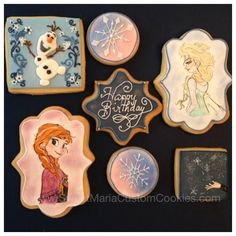Disney Frozen cookies | Cookie Connection Cookies For Kids, Cute Cookies, Cupcake Cookies, Sweet Cookies, Sugar Cookies, Cupcakes, Disney Cookies, Frozen Cookies, Frozen Cake