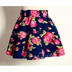 Vintage High Waist Ruffles Floral Print Women's Skirt