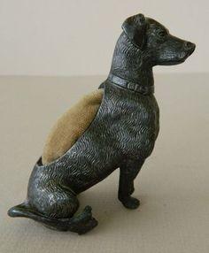 Antique Spelter Dog Pin Cushion | eBay
