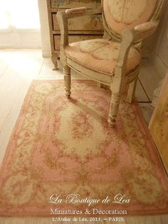 Dollhouse Aubusson French rug, Pink Shabby, late XVIIIth century - 1'' SCALE  - Accessory for a French dollhouse in 1:12th scale