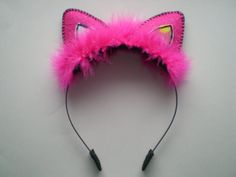 Glittery Girlie and Fun Cat Ear Headband Accessory Hot Pink and Black