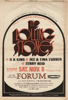 Rolling Stones, B.B. King, Ike  Tina Turner, Terry Reid Los Angeles 1969