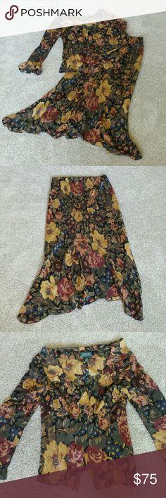 Sale! Silk Lauren Ralph Lauren 2 pc set 100% silk skirt and top.  Lined skirt and sheer top.  Beautiful office or dinner attire. Lauren Ralph Lauren Skirts High Low