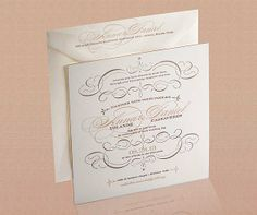 A beautifully letterpressed #wedding invitation on thick cardstock. #ProjectDressMe