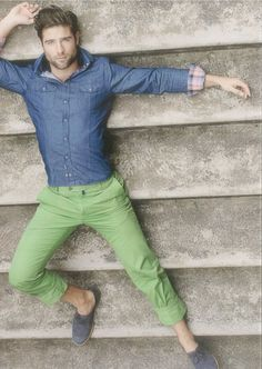 Denim shirt and green pants