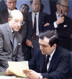 Peter Sellers and Stanley Kubrick on the set of Dr. Strangelove