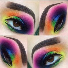 Amazing rainbow eye make up! (sugarpill Majestic rainbow eyes by using and eyeshadows! Eye Makeup Tips, Makeup Goals, Makeup Inspo, Eyeshadow Makeup, Makeup Art, Makeup Inspiration, Makeup Ideas, Beauty Makeup, Smokey Eyeshadow