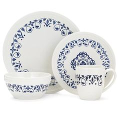 Pfaltzgraff Everyday Alina 16 Piece Dinnerware Set, Service for 4 & Reviews | Wayfair Dinnerware Sets Walmart, Dinnerware Sets For 12, Stoneware Dinnerware Sets, Square Dinnerware Set, Tableware, White Dinnerware, Blue Palette, Small Dining, Cereal Bowls
