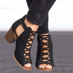 8be15704b46 Women Ankle Boots Peep Toe Cut Out Shoes Chunky High Heels Sandals