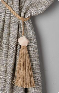 Faceted Bead Curtain Tie Backs Handmade tassels for curtain tie backs with single focal bead Curtain Ties, Curtain Fabric, Curtain Tie Backs Diy, Cortina Boho, Anthropologie Curtains, Diy Platform Bed, Curtain Hardware, Beaded Curtains, Curtains Hooks