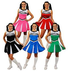 Cheerleader Fancy Dress Costume Womens High School Cheer ...