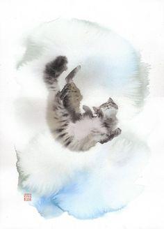 Chat Yutaka Murakami - aquarelle et moelleux Watercolor Cat, Watercolor Animals, Watercolor Paintings, Japanese Art Modern, Cat Drawing, Wildlife Art, Cat Design, Animal Paintings, Pet Portraits