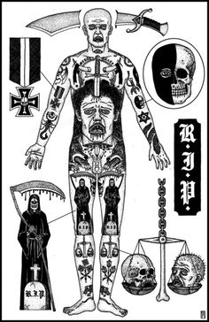 """alexanderheir: """" The Tattooed Man I & II, The Tattooed Woman I & II Limited edition signed and numbered screen prints now available from Sacred Bones. Russian Prison Tattoos, Russian Criminal Tattoo, Russian Tattoo, Sketch Tattoo Design, Tattoo Sketches, Tattoo Designs, Life Tattoos, New Tattoos, Tattoos For Guys"""