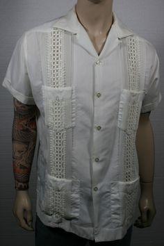 50s guayabera style crochet mexican wedding shirt