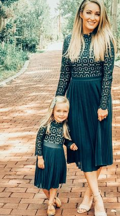 Fall and winter months, here you come. This modest lace dress features a high-neckline and the perfect shade of green that will dazzle at any holiday party and beyond. Mommy Daughter Dresses, Mother Daughter Matching Outfits, Mother Daughter Fashion, Mommy And Me Outfits, Mommy And Me Dresses, Family Outfits, Modest Lace Dress, Modest Dresses Casual, Modest Outfits