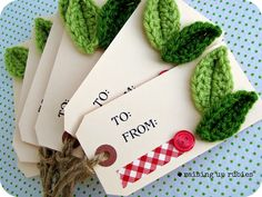 """Hand Stamped """"To and From"""" tags/ Christmas Gift Tags - Crochet Embellishment - set of 6. $6.00, via Etsy."""