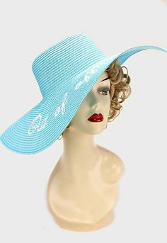 """Aqua & White """"OUT OF OFFICE"""" Embroidered Wide Brim Straw Floppy Hat 110767 #GingasGalleria #WideBrim"""