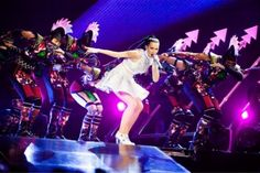 Opening scene of the Prismatic World Tour featuring Katy Perry and backing dancers wearing Stratasys 3D Printed mohawks, Photo by Jason Williamson