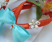 Persimmon bridal flip flops, minus the blue bowsTangerine flip flops, Orange Tiffany Blue Bridal shoes, beach wedding flip flops, 2013 VIP COLLECTION
