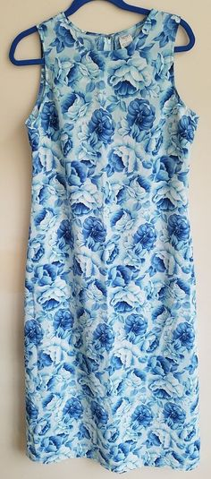 Old Navy 12 Blue Floral Sleeveless Polyester Sheath Dress Easter Spring Q19 #OldNavy #Sheath #Dressy