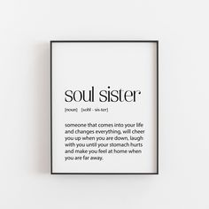 Best Friend Gift, Soul Sister, Gift for Her, Gift for Friend, Best friend print, art Gift, BFF Gift, Home Decor, Bedroom Decor, soulsister Bff Gifts, Sister Gifts, Best Friend Gifts, Gifts For Friends, Gifts For Her, Best Friends, Soul Sister Quotes, Bff Quotes, Friend Quotes