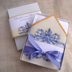 Marie Antoinette wedding invitations, handkerchief wedding invitations, elegant French Baroque, lavender and gold, boxed invitation - SAMPLE...