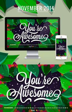 Green botanical leaves November calendar desktop wallpaper background