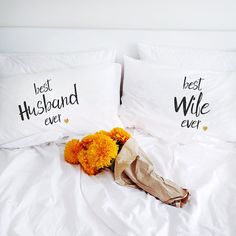 2nd cotton anniversary Gift for her him Pillowcases Bridal Shower Newlyweds Wedding gift for him her his husband wife men couple pillow case (Set of 2)  Very romantic, funny and interesting gift for best ever husband or wife. Will decorate every bedroom and make it sweet, romantic and comfy with a little bit of fun! Great idea to say I Love You or to say what do you think :) If you search gift for 1st or 2nd year cotton anniversary for your husband, wife, her or his, or just for beloved men…