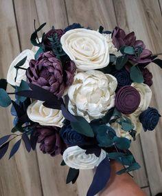# blue Weddings Plum and navy blue wedding bouquet, bridal bouquet, sola wood flowers Plum Wedding Colors, Plum Wedding Flowers, Wedding Flower Guide, Floral Wedding Decorations, Fall Wedding Bouquets, Wedding Flower Inspiration, Wedding Flower Arrangements, Purple Wedding, Bridal Flowers