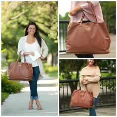 Monogrammed Purses, Monogram Tote, Personalized Tote Bags, Utility Tote, How To Make Handbags, Travel Bag, Vegan Leather, Camel, Trending Outfits