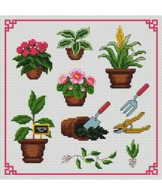 Pretty pots. Tons of FREE CROSS-SITCH PATTERNS at this site: just found a site that has really easy to download embroidery patterns for free. It's http://club-point-de-croix.com/?code_avantage=CWcplRsmji  Plus, if you click on this link, http://club-point-de-croix.com/?code_avantage=CWcplRsmji  , you'll automatically receive a gift when you subscribe. I use this site all the time; there are hundreds of all different types of patterns, and there are new patterns added everyday.