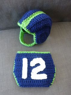 OMG to Cute Baby boy crochet Seattle Seahawks football helmet and 12th Man diaper cover