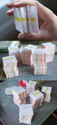 Beautiful Bright DIY Striped Edge Painted Business Card Design