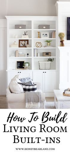 Check out these DIY built-ins that she did herself! | How to build living room built ins | Built-ins around the fireplace