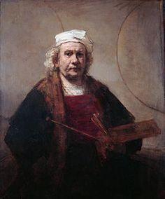 Self Portrait ... Rembrandt Harmenszoon van Rijn (Leiden, 15 juli 1606 – Amsterdam, 4 oktober 1669) was een Nederlandse kunstschilder, etser en tekenaar. Hij geldt algemeen als een van de grootste schilders en etsers in de Europese kunst, en als de belangrijkste Hollandse meester van de 17e eeuw. Rembrandt vervaardigde in totaal ongeveer driehonderd schilderijen, driehonderd etsen en tweeduizend tekeningen, met als bekendste werk De Nachtwacht (1642). Zijn werk behoort tot de barok en is…