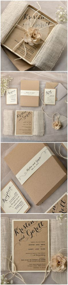 Rustic Eco Wedding Invitation with a box - calligraphy printing, eco kraft brown and ecru paper, burlap wrapping, flower and twine #rustic #romantic #eco #ecofriendly #wedding #weddingideas #weddinginvitation #calligraphy
