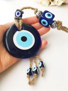 Evil eye home decor, evil eye wall hanging, turkish evil eye bead, blue glass evil eye beads, large evil eye wall hanging, macrame decor #housewares #homedecor #blue #office #unframed #homedecoration #evileyehomedecor #evileyebead #homedecoration #evileyedecor #evileyewallhanging #evileyebead #nazarboncuk #evileye