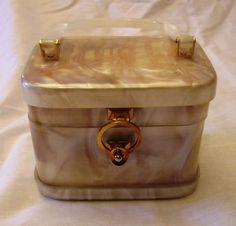 Vintage Stylecraft Miami Lucite White Pearl Box Handbag Purse Gold Clasp