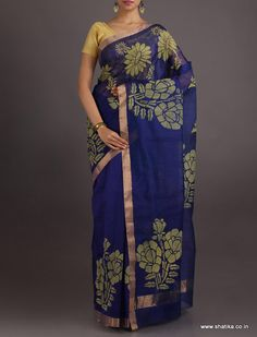 Aliya Golden Carnation On The Bloom #ChanderiBlockPrintedSaree