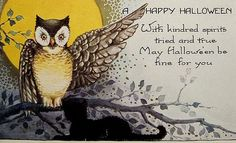 bumble button: free Halloween clip art 1900-1920's antique postcards Black Cats,Owls,Pumkins,Witches