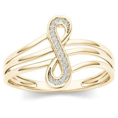 De Couer 10k Yellow Gold 1/20ct TDW Diamond Infinity Loop Ring (H-I, I2) (Size-6.5), Women's, Size: 6.5