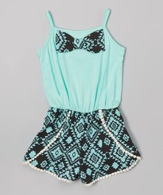 Look at this Maya Fashion Mint & Black Geometric Romper - Toddler & Girls on #zulily today! Cute Girl Outfits, Cute Summer Outfits, Outfits For Teens, Cool Outfits, Disney Outfits, Rompers For Teens, Cute Rompers, Girls Rompers, Maya Fashion
